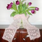 Tørklæde med bladmønster